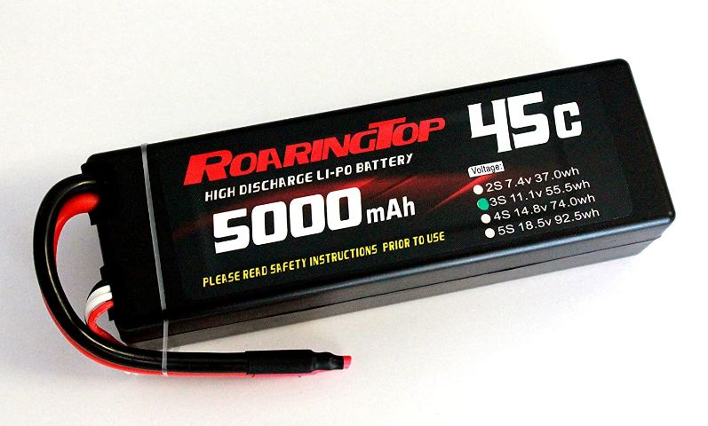 RoaringTop LiPo Battery Pack 45C 5000mAh 3S1P 11.1V HardCase with Leads Out for RC Car Boat Truck Airplane